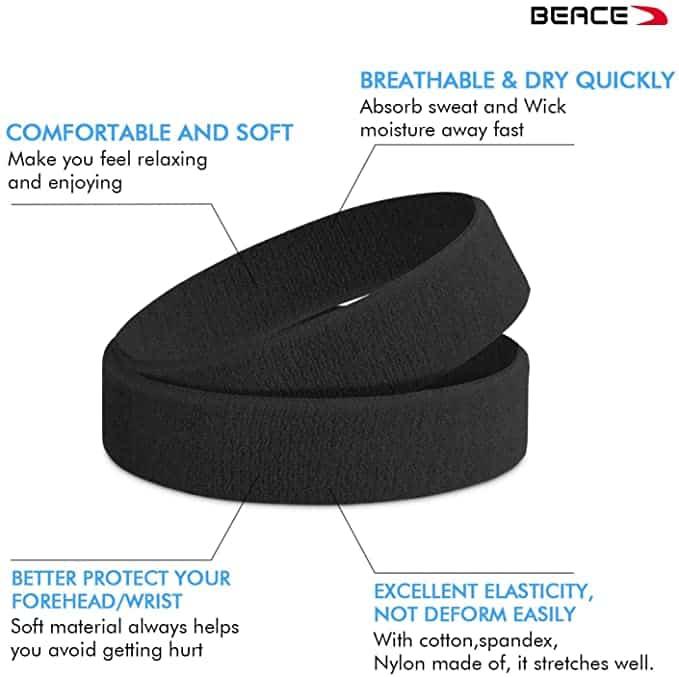 BEACE Sweatbands Sports Headband